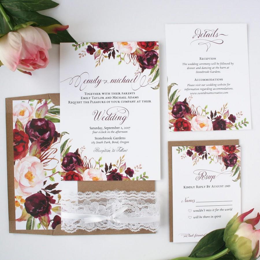 Fall Wedding Invitation Fall Wedding Invitations Burgundy Blush Wedding Invitations