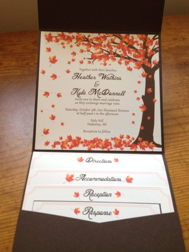 Fall Wedding Invitation Falling Leaves Wedding Invitation Autumn Littlebopress On Etsy
