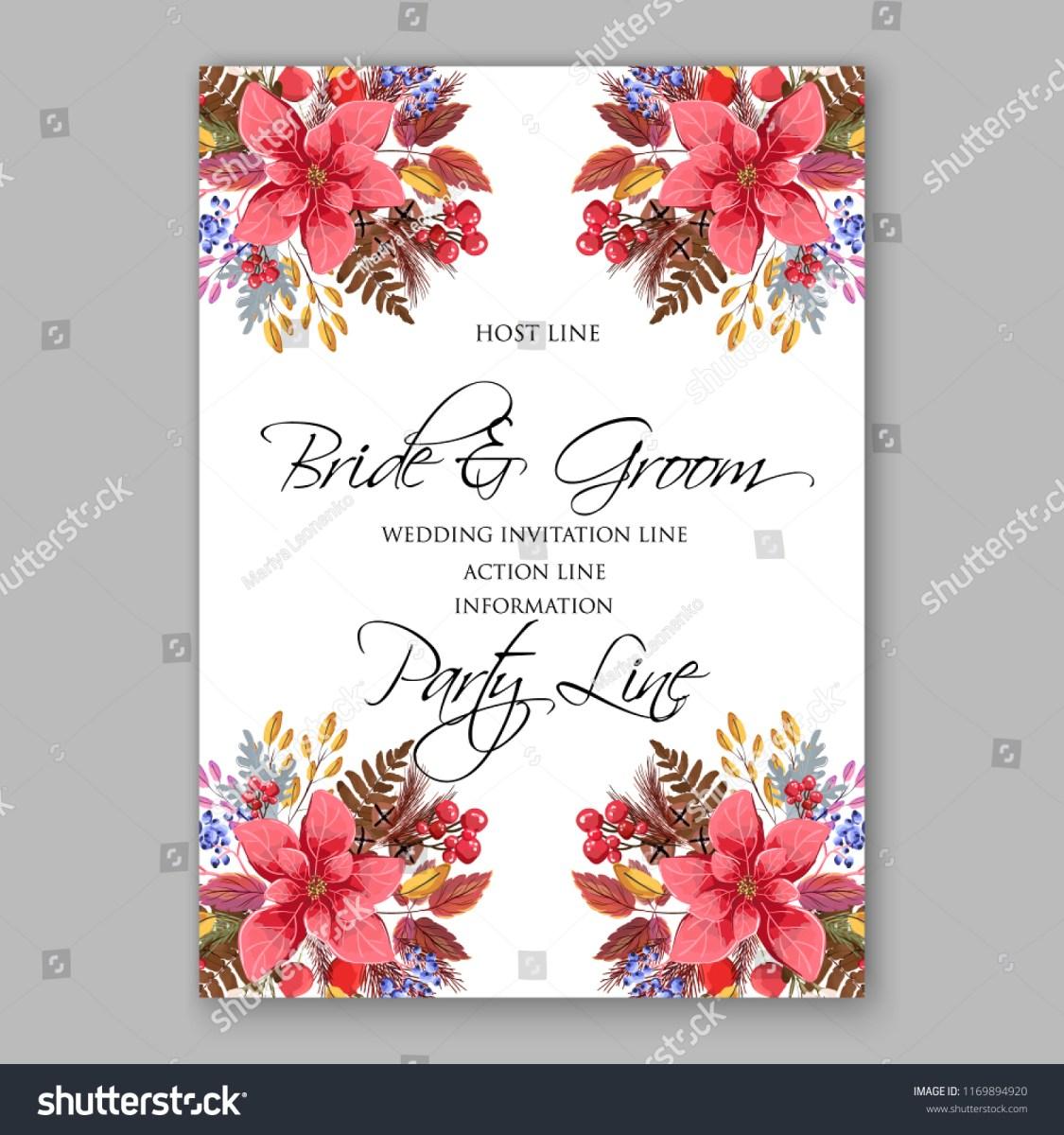 Fall Wedding Invitation Poisettia Autumn Wedding Invitation Fall Leaves Stock Vector