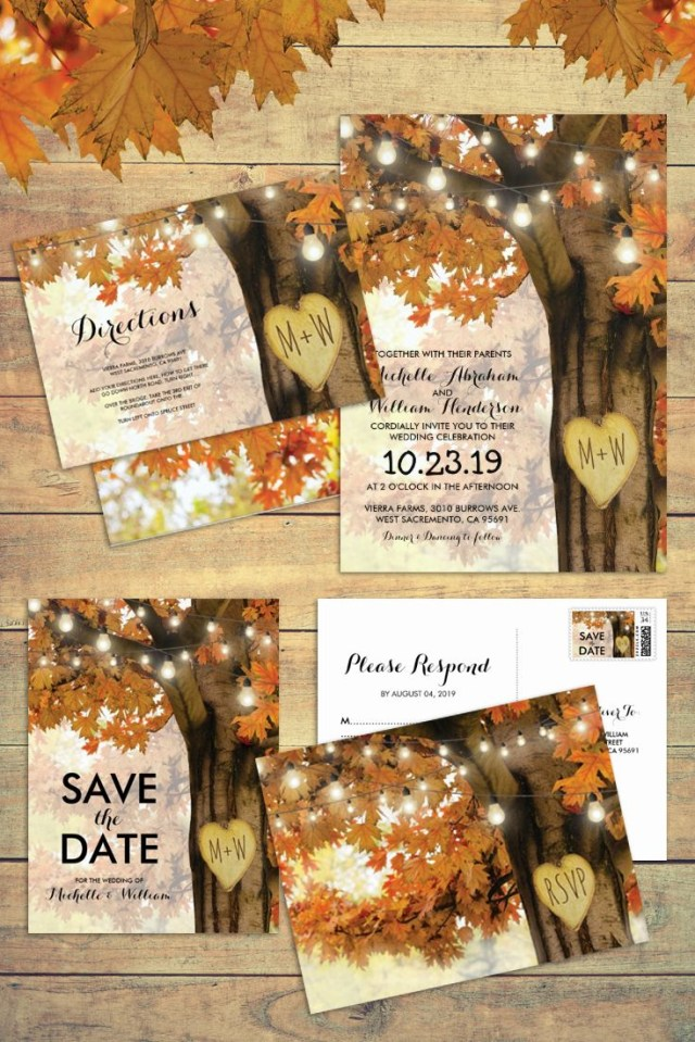 Fall Wedding Invitation Rustic Fall Autumn Tree Twinkle Lights Matching Wedding Suite