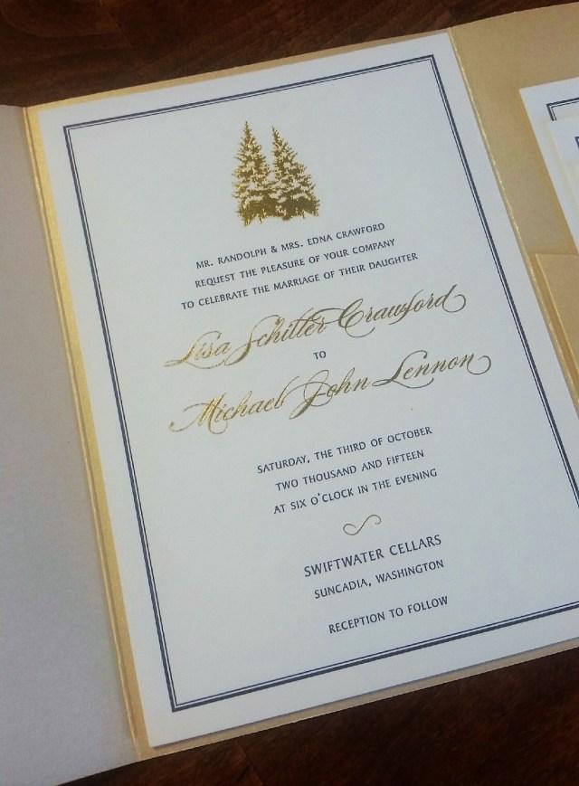Foil Stamped Wedding Invitations Custom Sequoia Letterpress And Gold Foil Stamped Wedding Invitation