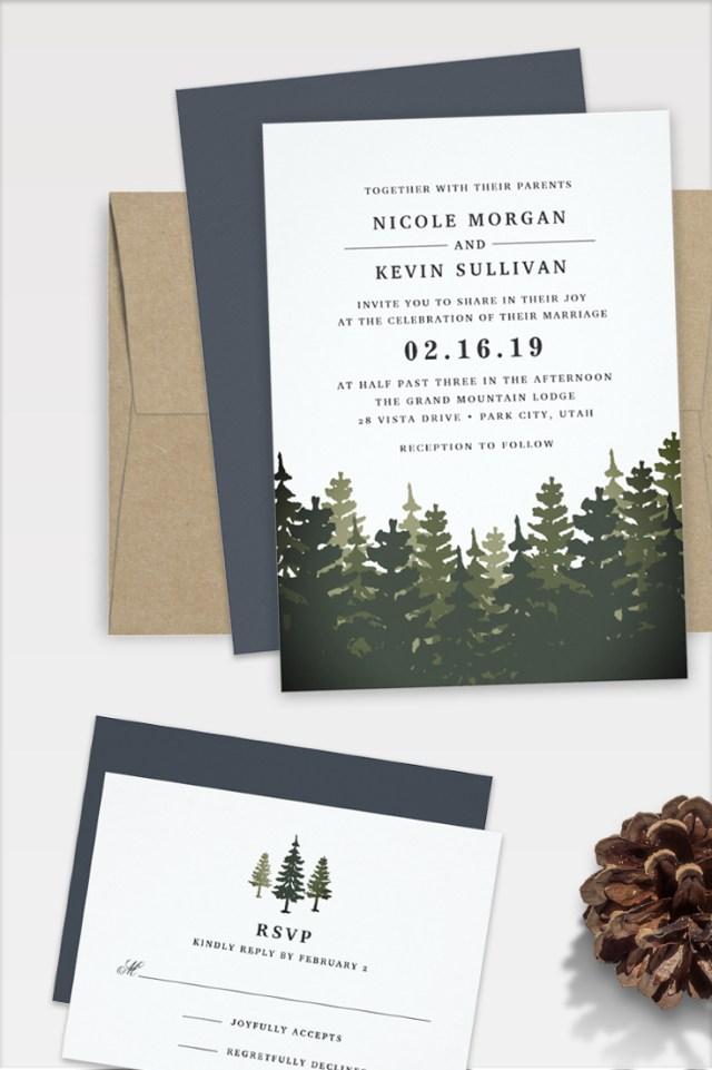 Forest Wedding Invitations Elegant Rustic Wedding Invitations For Winter Mountain Or Forest