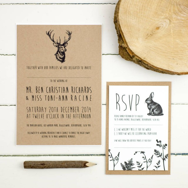 Forest Wedding Invitations Enchanted Forest Wedding Invitation Russet And Gray