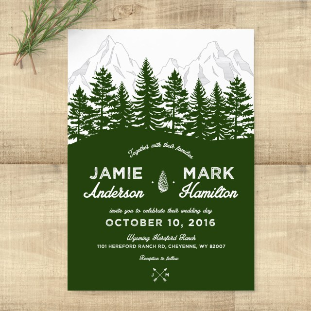 Forest Wedding Invitations Forest Rustic Woodland Wedding Invitation Suite Pixie
