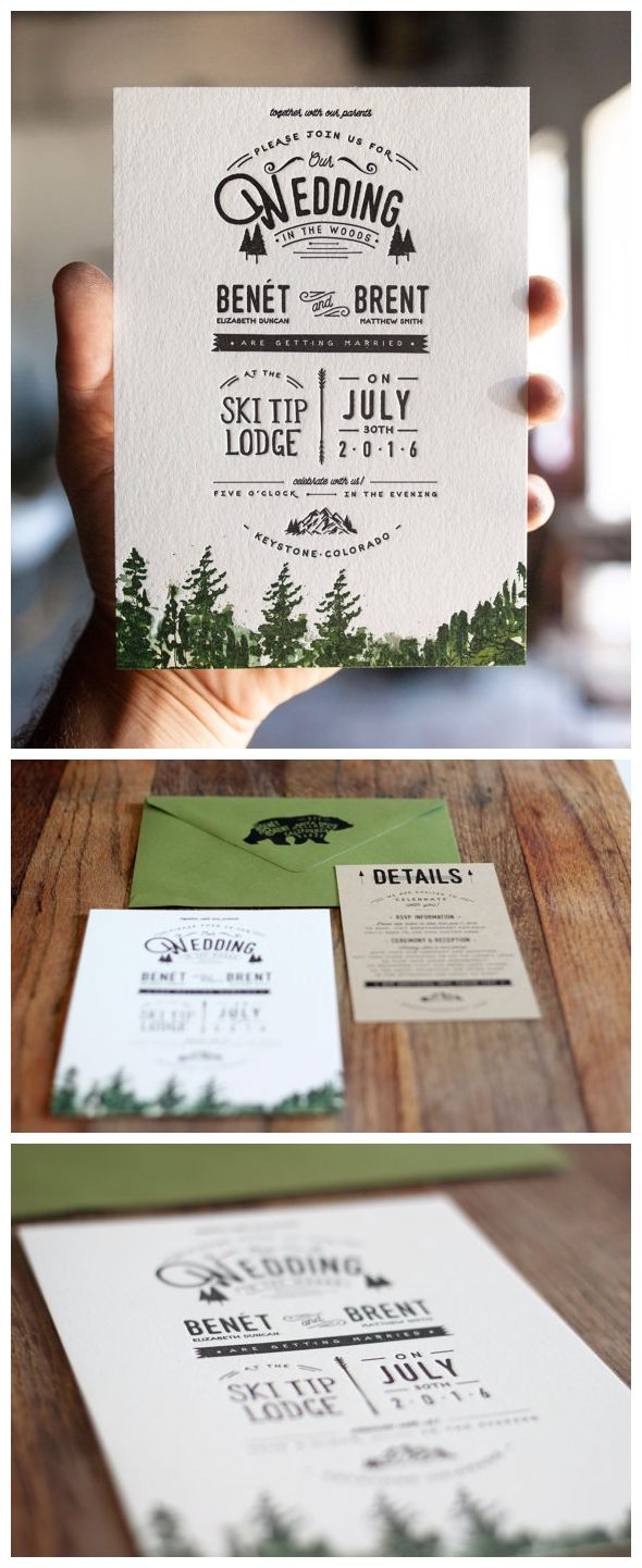 Forest Wedding Invitations Letterpress And Watercolor Mountain Wedding Invitation Rustic Trees