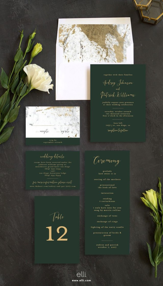 Forest Wedding Invitations Marble And Gold Wedding Invitation Suite With Stunning Green Touches