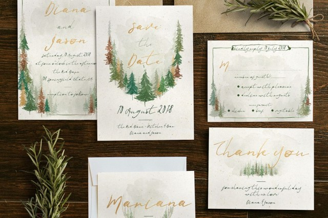 Forest Wedding Invitations Watercolor Forest Wedding Invitation Suite
