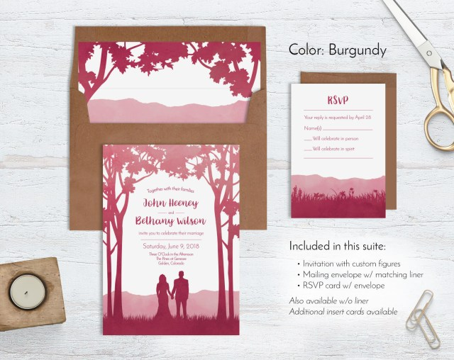 Forest Wedding Invitations Watercolor Forest Wedding Invitations Custom Illustrated Wild