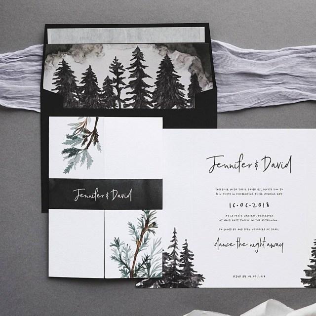 Forest Wedding Invitations Winter Forest Wedding Invitation Set I Am Nat