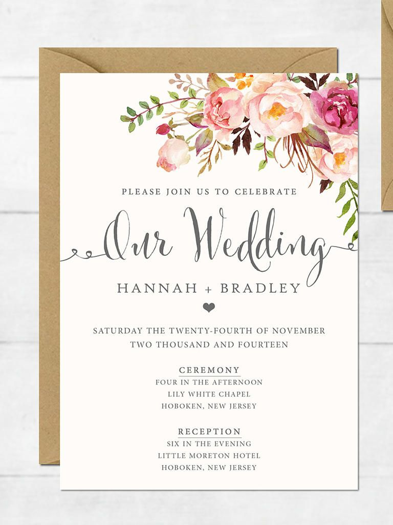 27+ Pretty Image of Free Printable Wedding Invitations