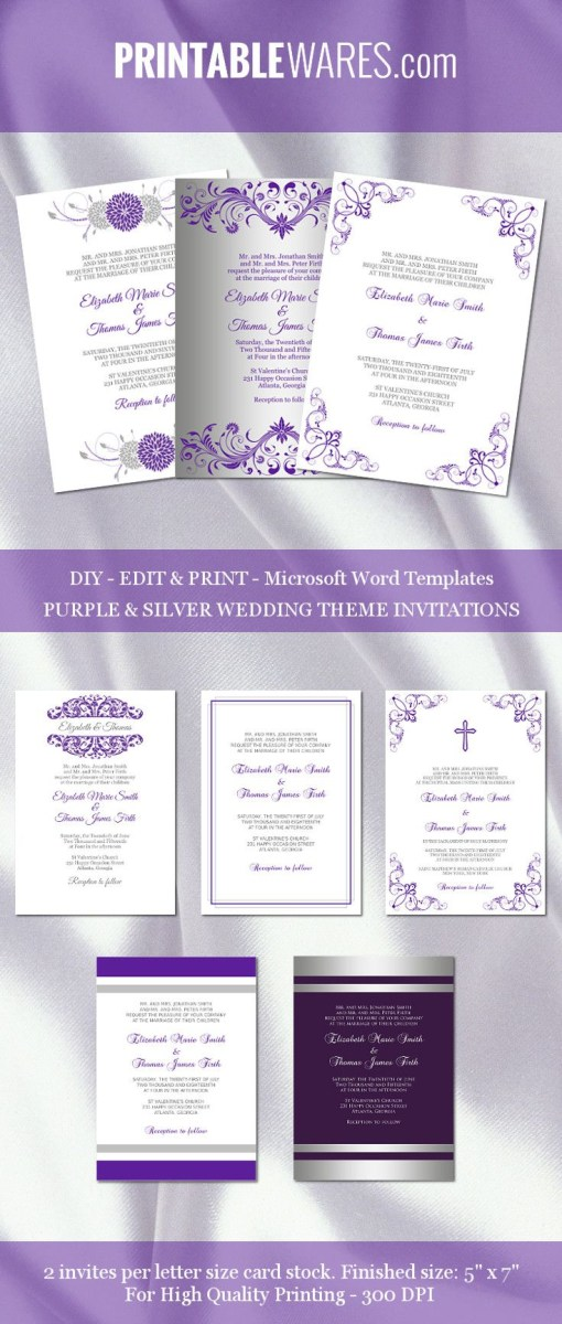 Free Wedding Invitation Templates For Word Purple And Silver Wedding Invitation Templates For Microsoft Word