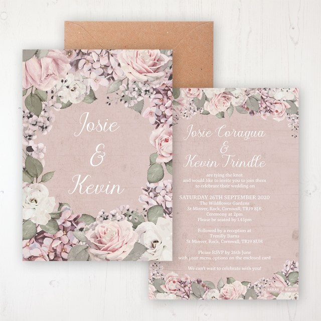 Garden Wedding Invitations Dusty Rose Garden Wedding Invitations Sarah Wants Stationery