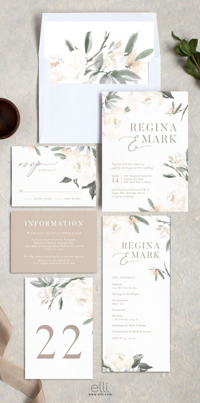 Garden Wedding Invitations Elegant Garden Wedding Invitation Suite With Stunning Neutral