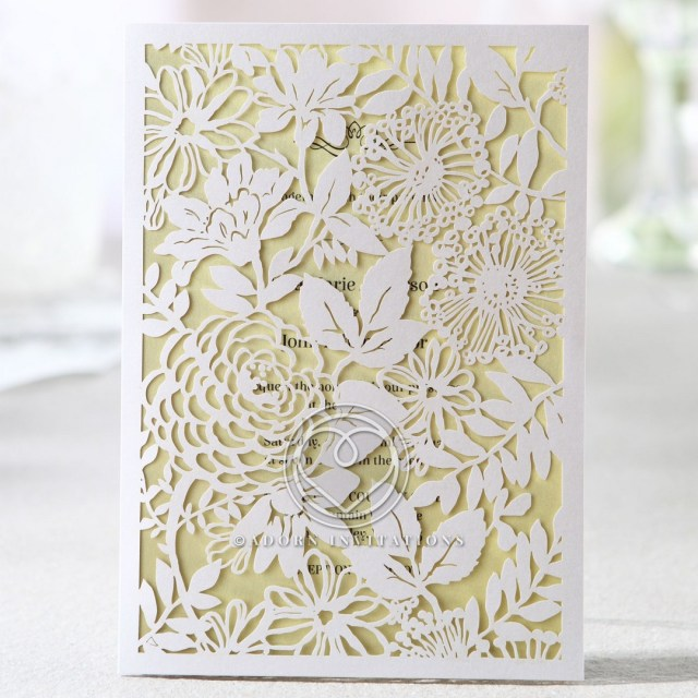 Garden Wedding Invitations Laser Cut Garden Flowers And Leaves On Full Frame Charming