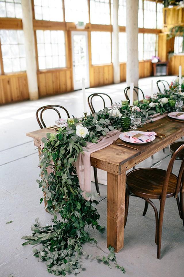 Garland Wedding Decor Oragnic Long Greenery Garland And Dusty Fabric Wedding Centerpieces