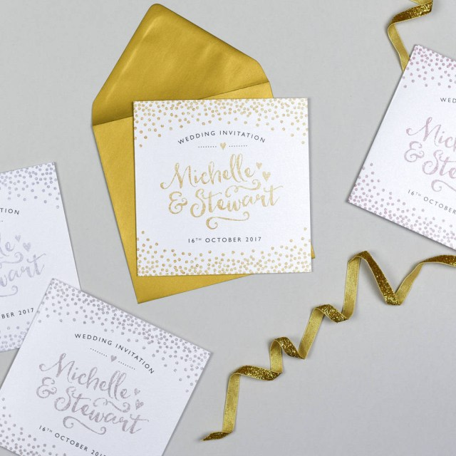 Glitter Wedding Invitations Glitter And Sparkle Wedding Invitation Michelle Fiedler Design