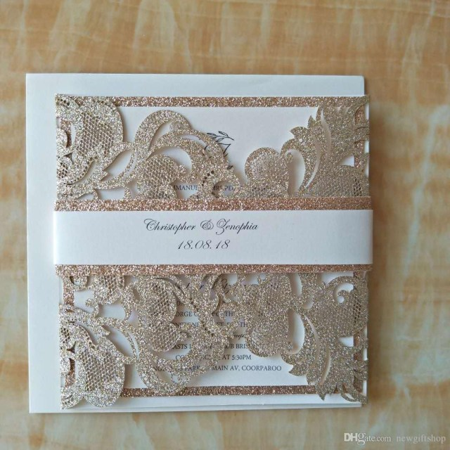 Glitter Wedding Invitations Luxury Champagne Gold Glitter Wedding Invitations Elegant Laser Cut