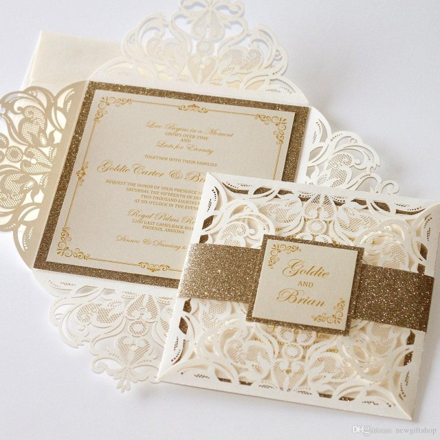 Glitter Wedding Invitations Luxury Laser Cut Flower Gold Glitter Wedding Invitations With