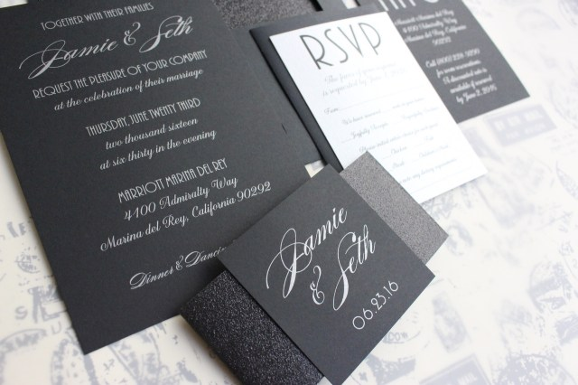 Glitter Wedding Invitations Silver On Black Wedding Invitation Glitter Wedding Invitation
