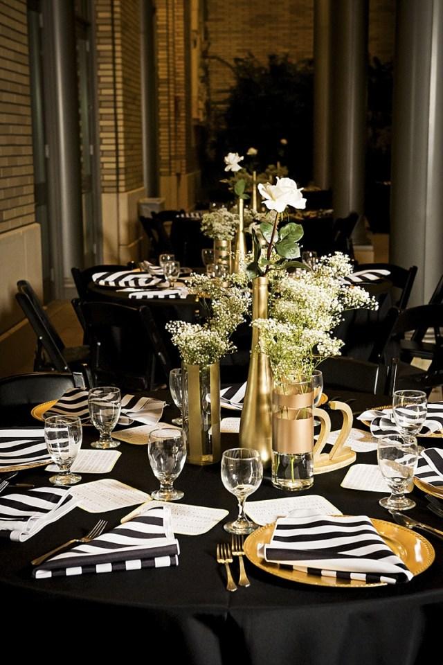 Gold Wedding Decor Modern Elegant White Black And Gold Wedding Every Last Detail