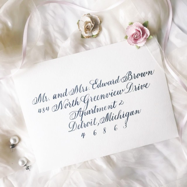 Handwritten Wedding Invitations Copperplate Calligraphy Handwritten Wedding Invitation