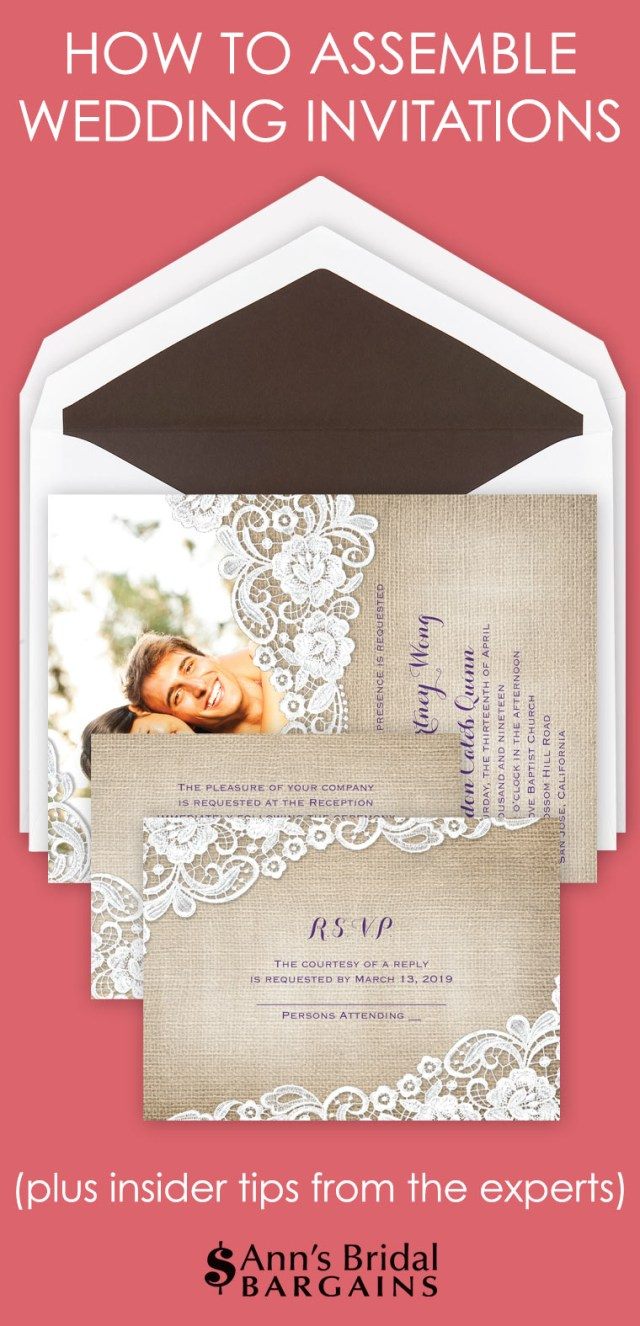 How To Stuff Wedding Invitations How To Assemble Wedding Invitations Anns Bridal Bargains
