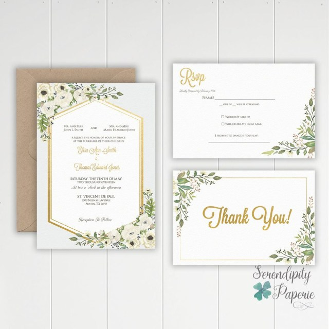 How To Stuff Wedding Invitations Watercolor Greenery Wedding Invitation Ivory And Greenery Wedding