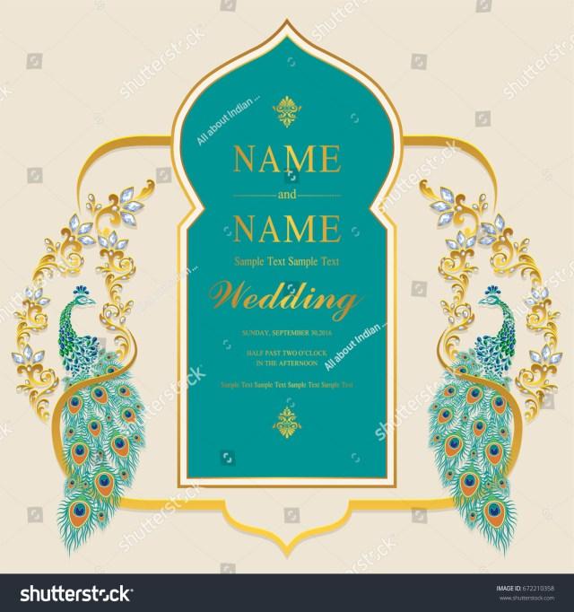 Indian Wedding Invitation Indian Wedding Invitation Card Templates Gold Stock Vector Royalty