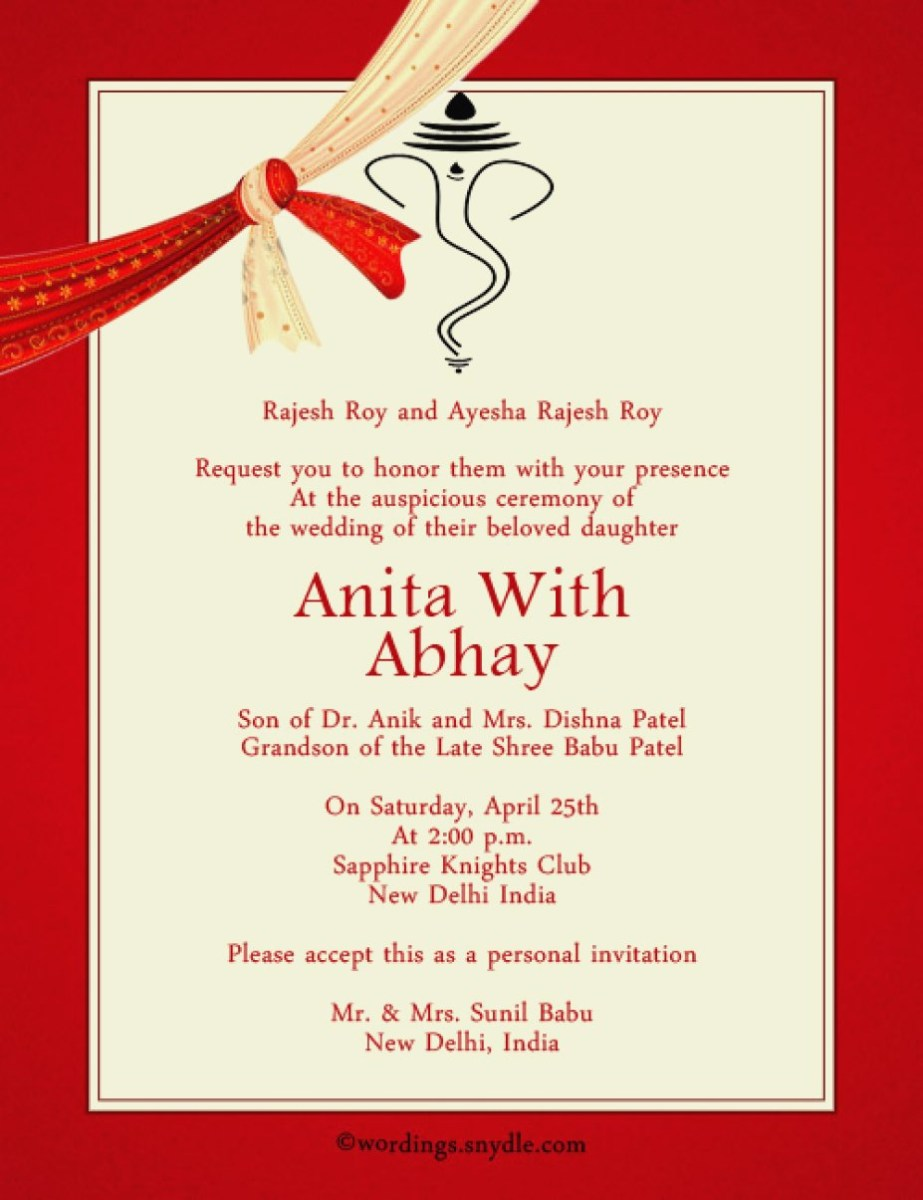 Indian Wedding Invitation Indian Wedding Invitation Cards New Marriage Invitation Card Matter