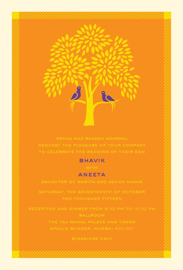 Indian Wedding Invitation Tree Of Life A Modern Indian Wedding Invitation Card Wedding