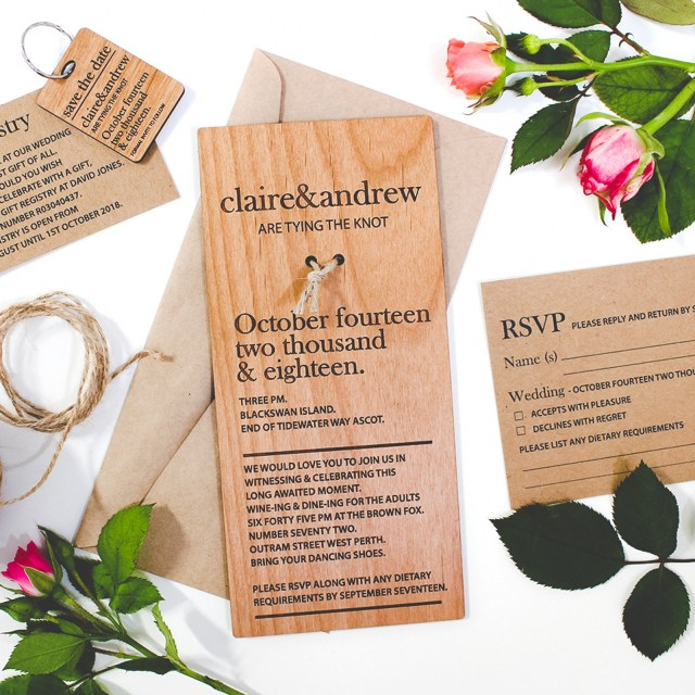 Invitation To Our Wedding Dl Size Engraved Wooden Invitations Personalised Favours