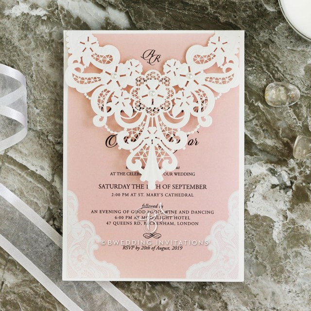 Invitation To Our Wedding Lacey Garland In Satin Ivory Classic Laser Cut Wedding Invitation