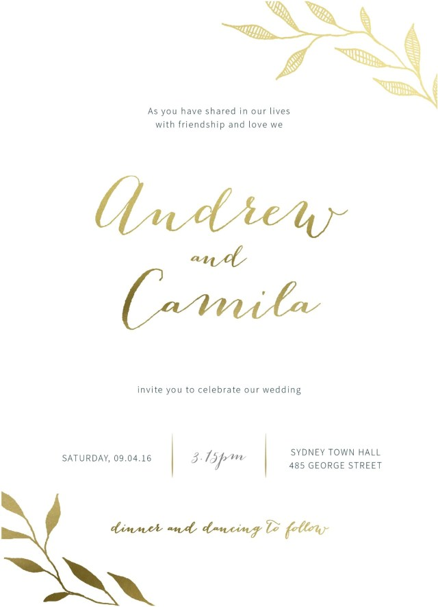Invitation To Our Wedding Leaves Real Foil Wedding Invitations