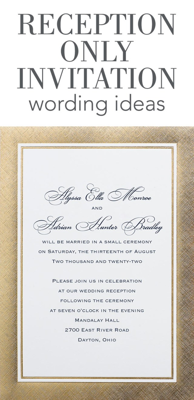 Invitation To Our Wedding Reception Only Invitation Wording Invitations Dawn
