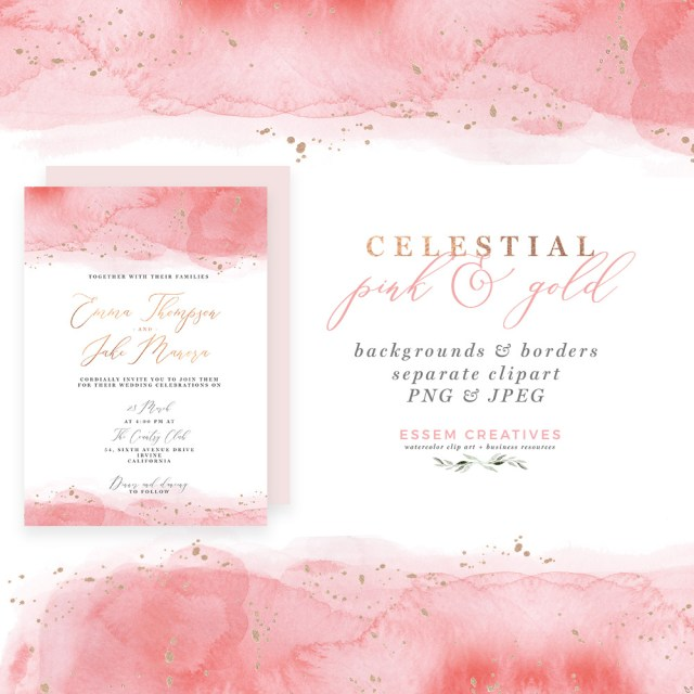 Invitations For Wedding Celestial Pink And Gold Watercolor Wedding Invitation Template