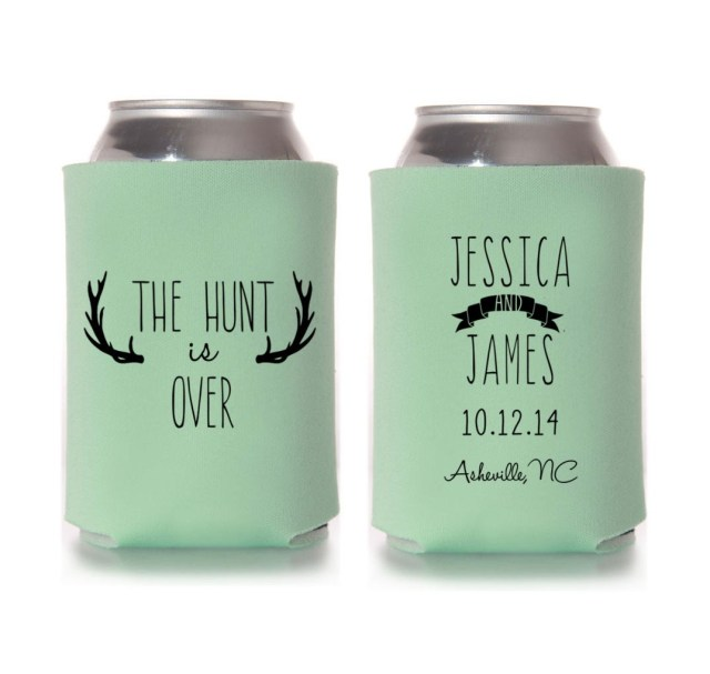 Koozie Ideas Wedding Fall Wedding Favors The Hunt Is Over Personalized Rustic Can Etsy