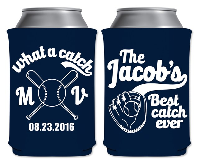 Koozie Ideas Wedding What A Catch 1a Baseball Custom Coolers Wedding Favors That
