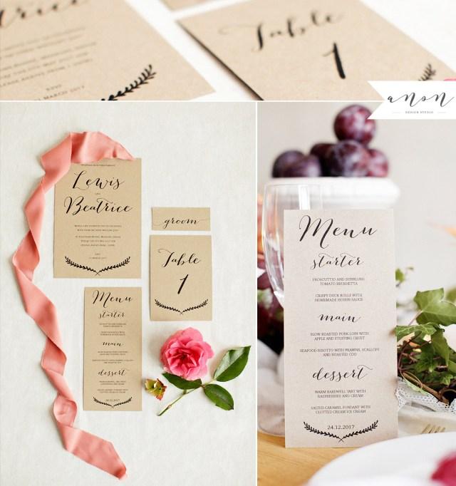 Kraft Wedding Invitations Boho Kraft Wedding Invites Anon Design Studio