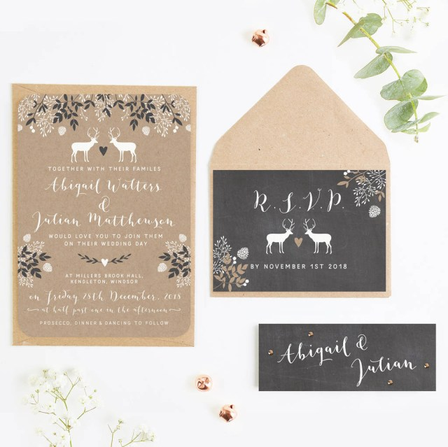 Kraft Wedding Invitations Chalkboard And Kraft Winter Stag Wedding Invitations
