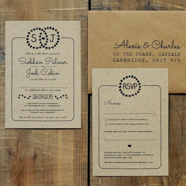 Kraft Wedding Invitations Heart Illustration Kraft Wedding Invitation Set Feel Good Wedding