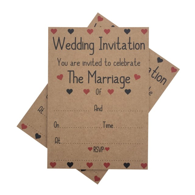 Kraft Wedding Invitations Kraft Wedding Invitations Envelopes Red Hearts 1 Pack Of 10
