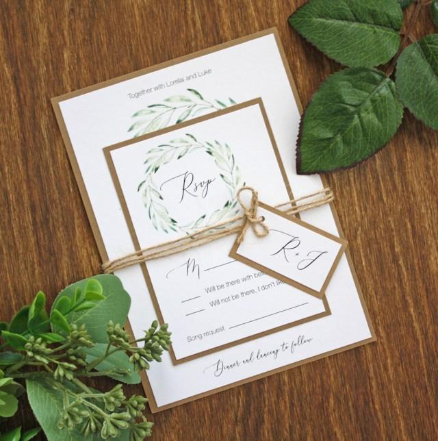 Kraft Wedding Invitations Rustic Kraft And Greenery Wreath Twine Wedding Invitations Always