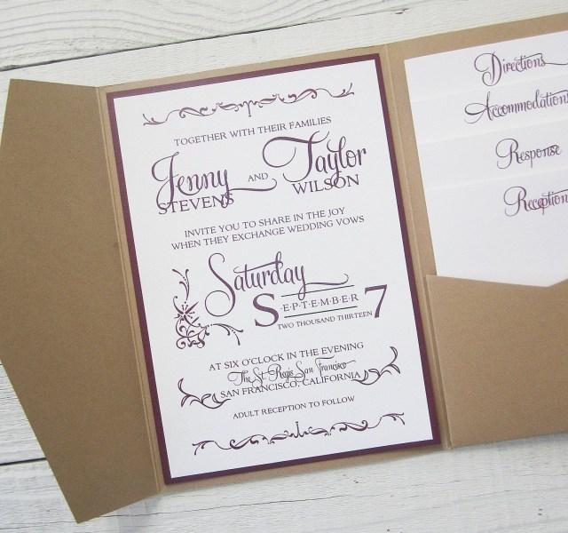 Kraft Wedding Invitations Rustic Kraft Wedding Invitation Pocket Country Twine Purple Maroon