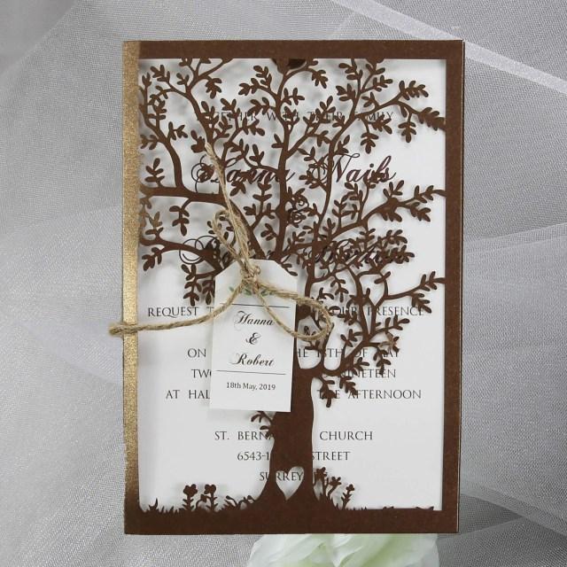Laser Cut Tree Wedding Invitations Bronze Lasercut Tree Invitation Red Rose Invitations