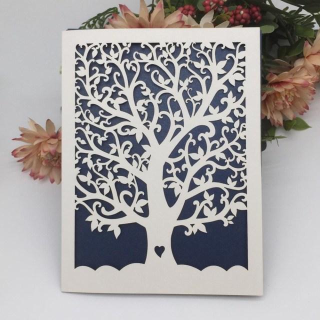 Laser Cut Tree Wedding Invitations Customizable Laser Cut Tree Wedding Invitations Romantic Wedding