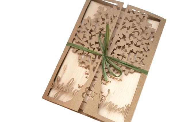 Laser Cut Tree Wedding Invitations Laser Cut Tree Wedding Invitation With Wood Engraved Invite Sofia