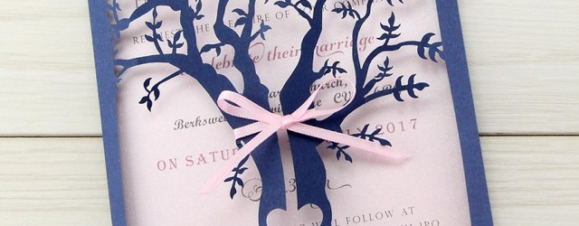 Laser Cut Tree Wedding Invitations Laurel Tree Laser With Ribbon Wedding Invitation Pure Invitation