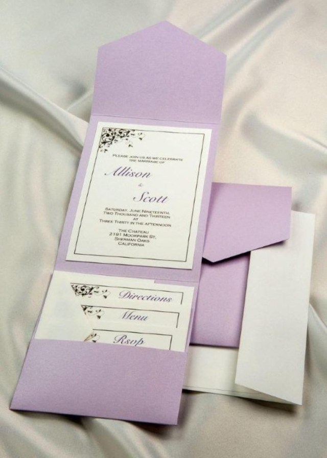 Lavender Wedding Invitations Dyi Wedding Invitation Lavender Elegance Pocket Invitation