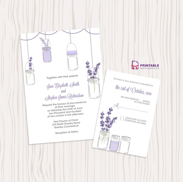 Lavender Wedding Invitations Mason Jar And Lavender Invitation And Rsvp Set Wedding Invitation