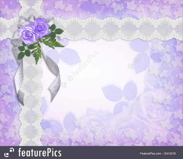 Lavender Wedding Invitations Wedding Invitation Floral Border Lavender Roses Illustration